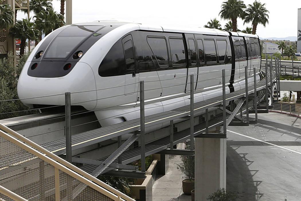A Las Vegas Monorail approaches MGM Station. Bizuayehu Tesfaye/Las Vegas Review-Journal Follow @bizutesfaye