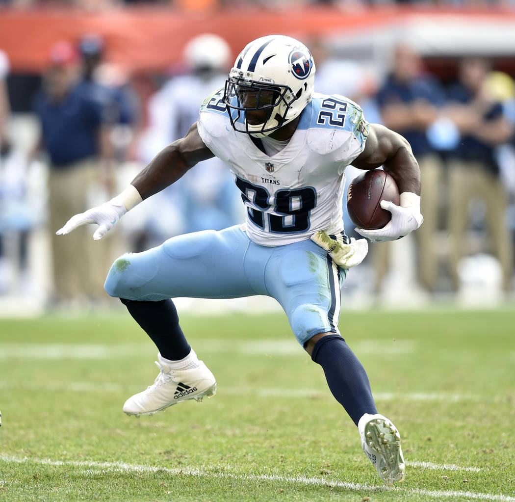 In this Oct. 22, 2017, file photo, Tennessee Titans running back DeMarco Murray (29) runs with the ball during an NFL football game against the Cleveland Browns, in Cleveland. (AP Photo/David Rich ...