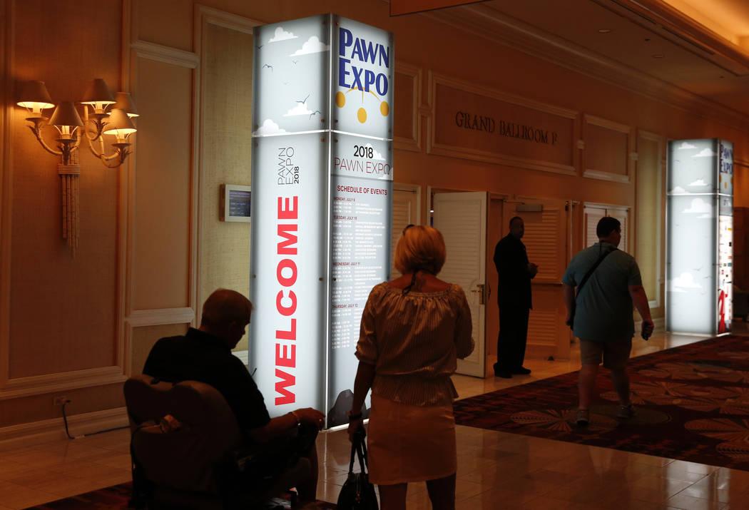 Attendees arrive at Pawn Expo at the Mirage hotel-casino on Thursday, July 12, 2018, in Las Vegas. Bizuayehu Tesfaye/Las Vegas Review-Journal @bizutesfaye