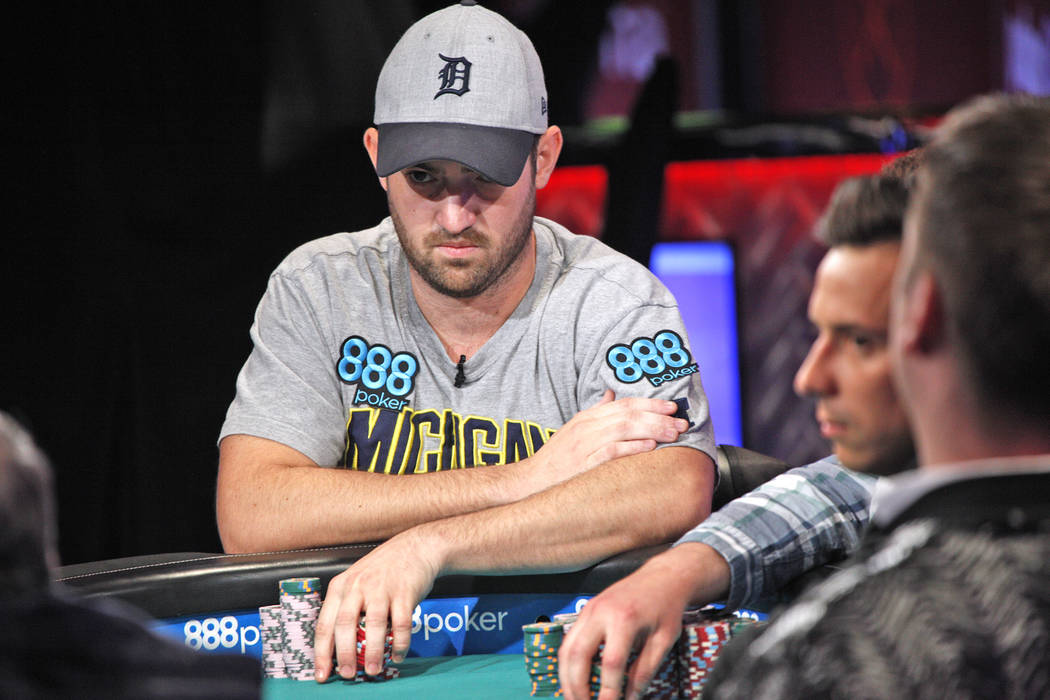 Joe Cada on the seventh day of the World Series of Poker at the Rio Convention Center in Las Vegas, Wednesday, July 11, 2018. By the end of the night there will be only nine players left. Rachel A ...