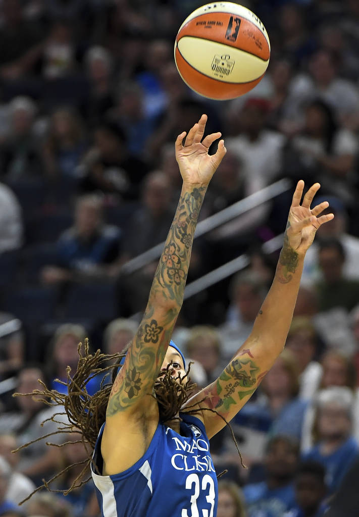 Minnesota Lynx guard Seimone Augustus shoots against the Las Vegas Aces during the first half of a WNBA basketball game Friday, July 13, 2018, in Minneapolis. (Aaron Lavinsky/Star Tribune via AP)