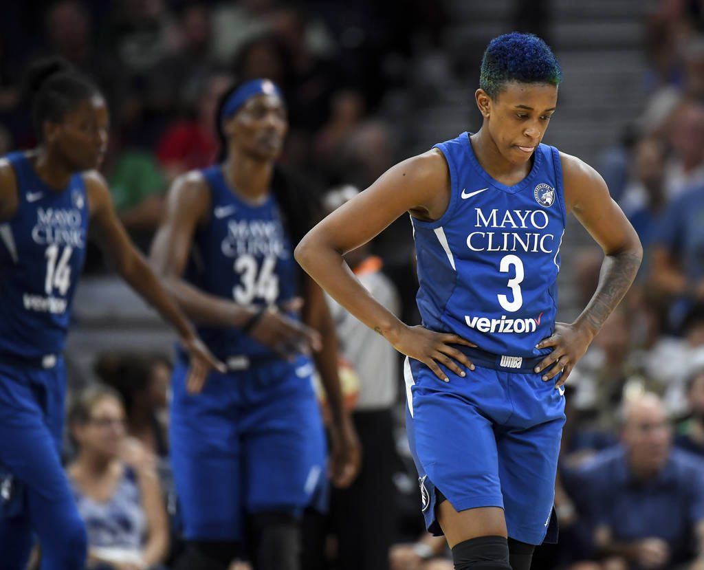 Minnesota Lynx guard Danielle Robinson (3) looks down after missing a fourth--quarter layup against the Las Vegas Aces during a WNBA basketball game Friday, July 13, 2018, in Minneapolis. (Aaron L ...