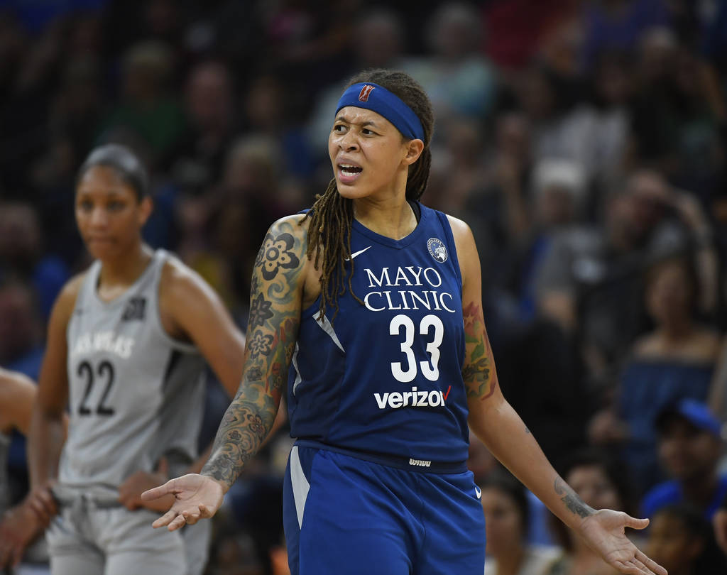 Minnesota Lynx guard Seimone Augustus (33) argues with an official after being called for a technical foul during the second half of the team's WNBA basketball game against the Las Vegas Aces on F ...