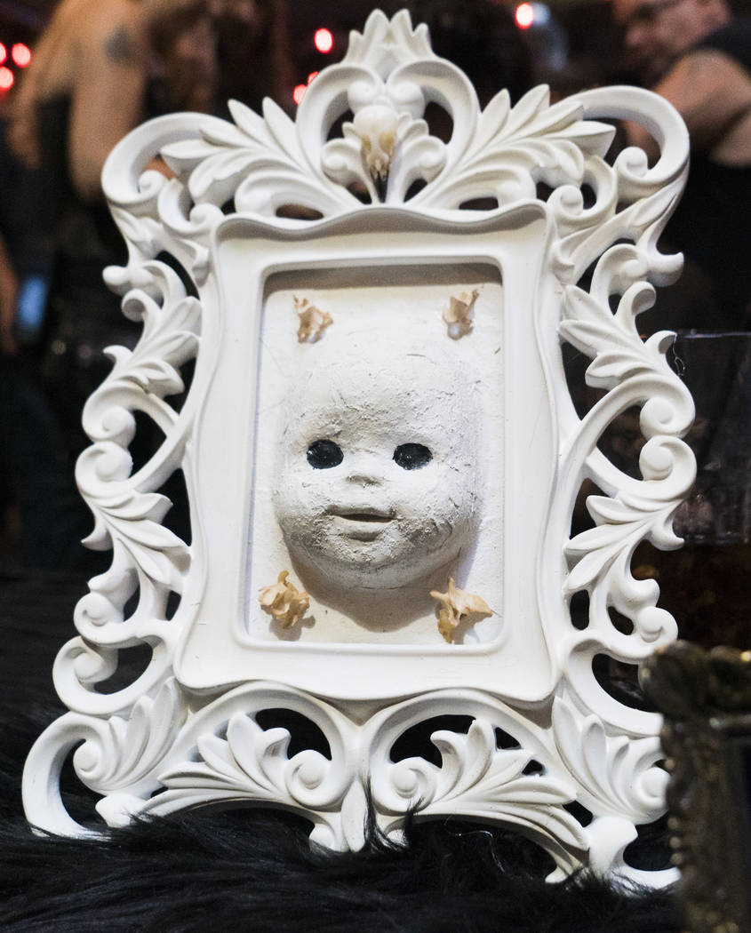 A paper mache doll by Artist Monica Carriaga for sale at The Dark Arts Market at Cornish Pasty Co. in Las Vegas, Friday, July 13, 2018. The piece is inspired by dolls made with wheat paste du ...