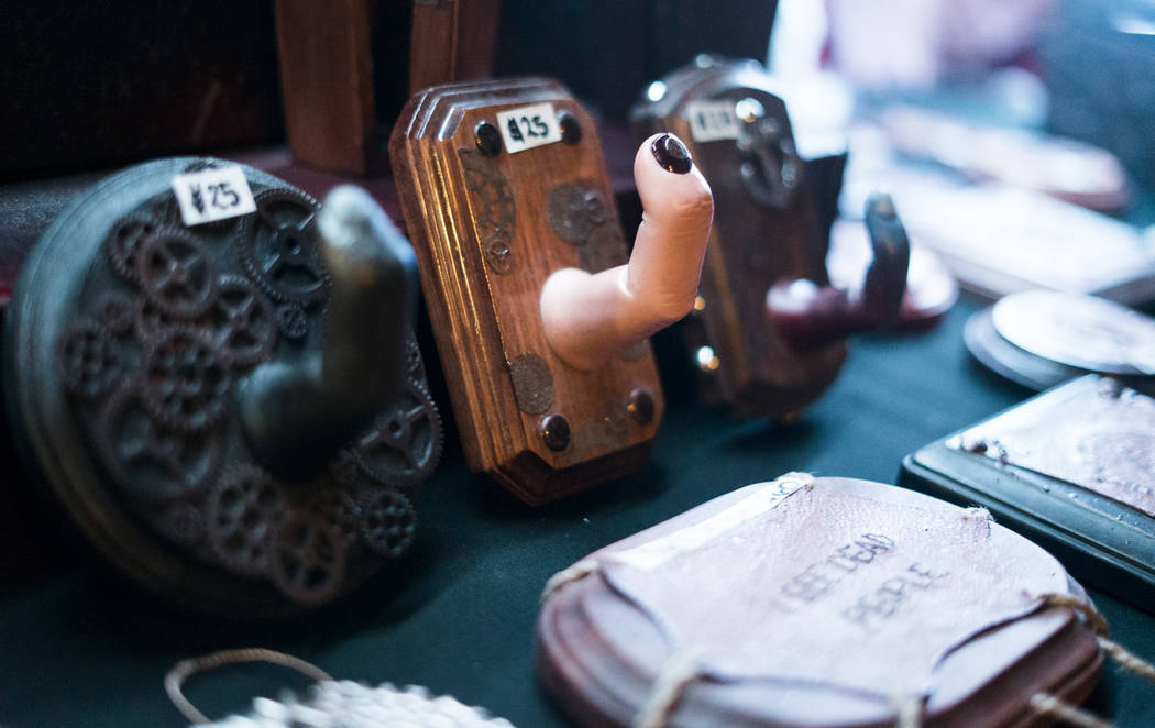 Finger hooks on display at The Dark Arts Market at Cornish Pasty Co. in Las Vegas, Friday, July 13, 2018. Hundreds of Las Vegas Valley residents visited the one-day market featuring local macabre, ...