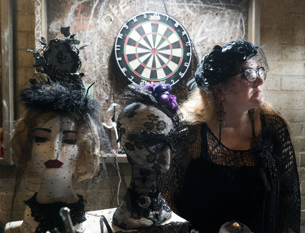 Vendor 'Princess' Madison Morassi De Los Reyes sells her work at The Dark Arts Market at Cornish Pasty Co. in Las Vegas, Friday, July 13, 2018. Hundreds of Las Vegas Valley residents visited the o ...