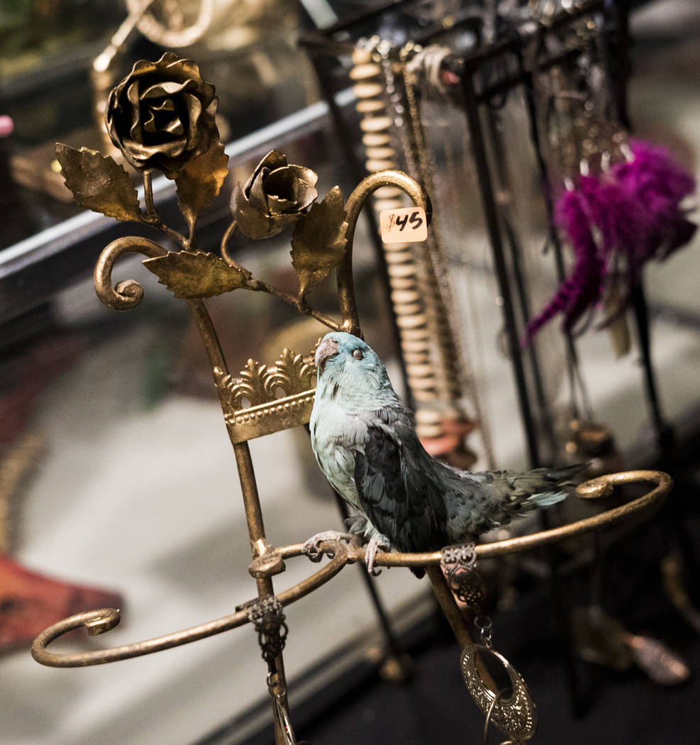 Art is on display at The Dark Arts Market at Cornish Pasty Co. in Las Vegas, Friday, July 13, 2018. Hundreds of Las Vegas Valley residents visited the one-day market featuring local macabre, occul ...