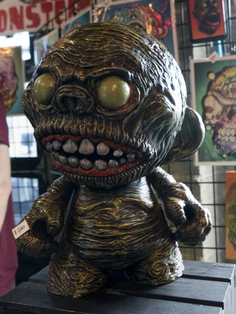 'Zeddo' Mega Munny by artist Chris Moore is displayed at The Dark Arts Market at Cornish Pasty Co. in Las Vegas, Friday, July 13, 2018. Hundreds of Las Vegas Valley residents visited the one-day m ...