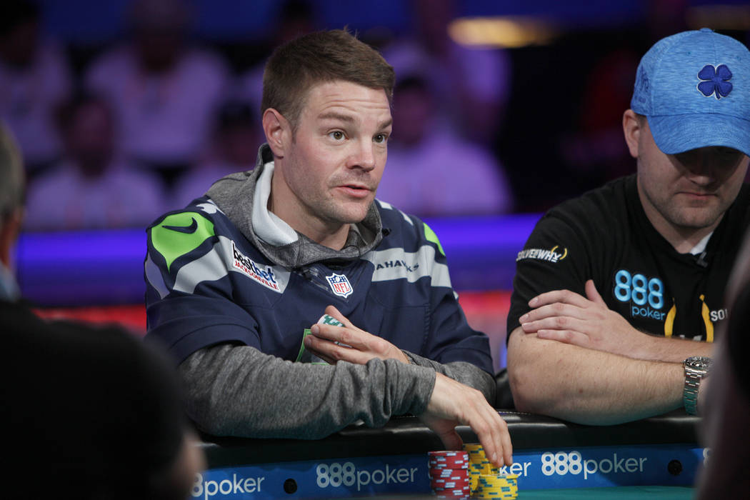 Tony Miles on the eighth day of the World Series of Poker tournament at the Rio Convention Center in Las Vegas, Thursday, July 12, 2018. Artem Metalidi and Alexander Lynskey were eliminated by the ...