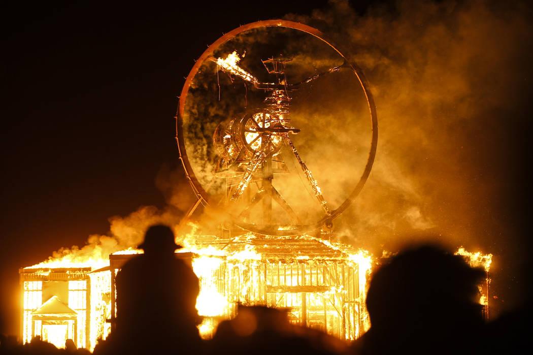 The Man burns during Burning Man at the Black Rock Desert north of Reno on Saturday, Sept. 3, 2016. Chase Stevens/Las Vegas Review-Journal Follow @csstevensphoto