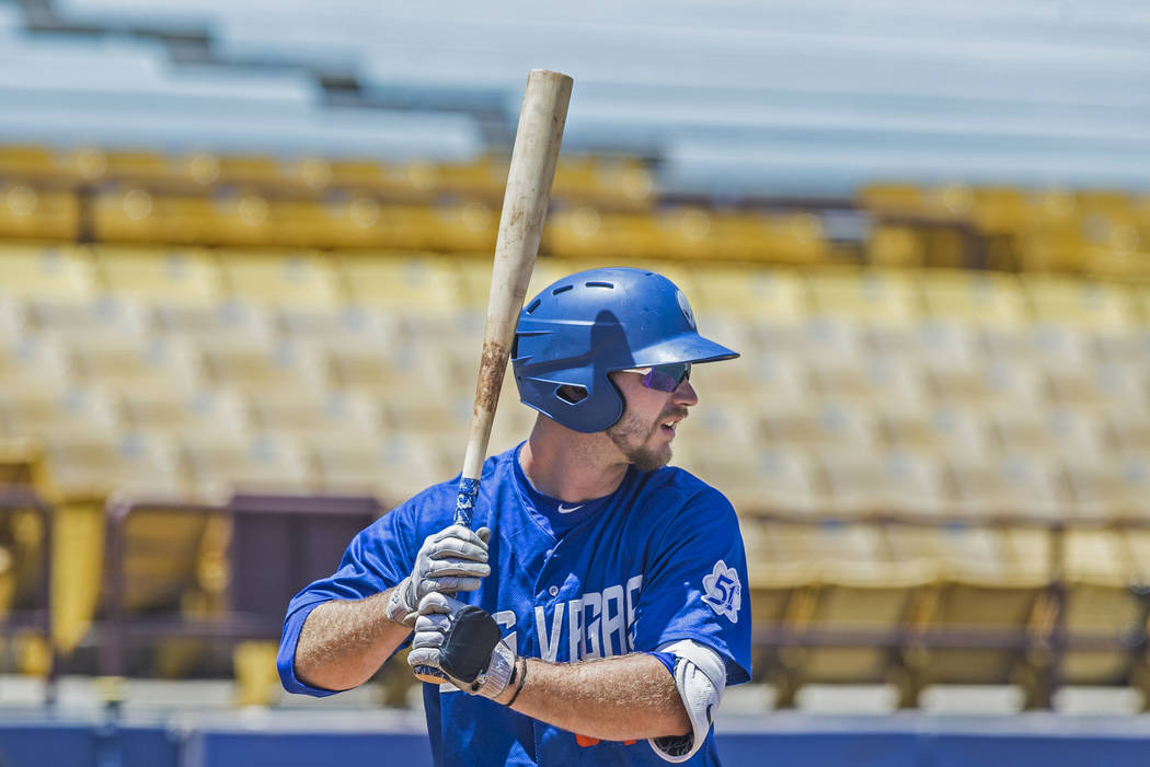 51s first baseman Peter Alonso (34) waits for a pitch during Las Vegas' home matchup with the Reno Aces on Sunday, June 24, 2018, at Cashman Field, in Las Vegas. Benjamin Hager Las Vegas Review-Jo ...