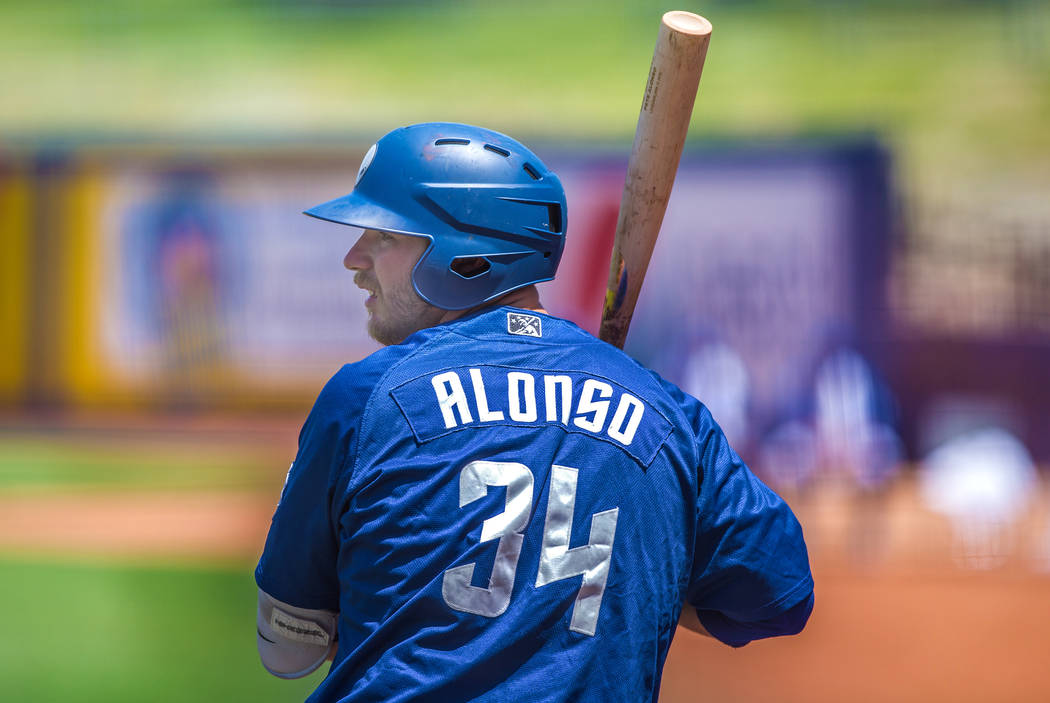51s first baseman Peter Alonso (34) warms up before his at bat during Las Vegas' home matchup with the Reno Aces on Sunday, June 24, 2018, at Cashman Field, in Las Vegas. Benjamin Hager Las Vegas ...