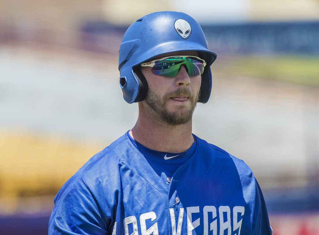 51s first baseman Peter Alonso (34) walks back to the dugout after striking out during Las Vegas' home matchup with the Reno Aces on Sunday, June 24, 2018, at Cashman Field, in Las Vegas. Benjamin ...