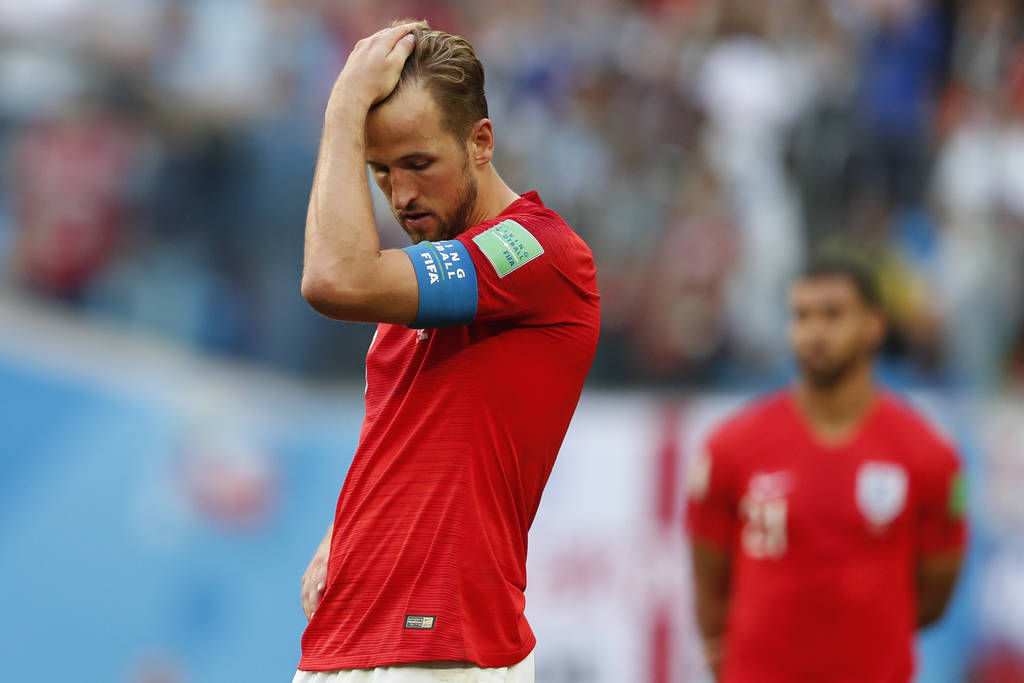 England's Harry Kane reacts after the third place match between England and Belgium at the 2018 soccer World Cup in the St. Petersburg Stadium in St. Petersburg, Russia, Saturday, July 14, 2018. ( ...