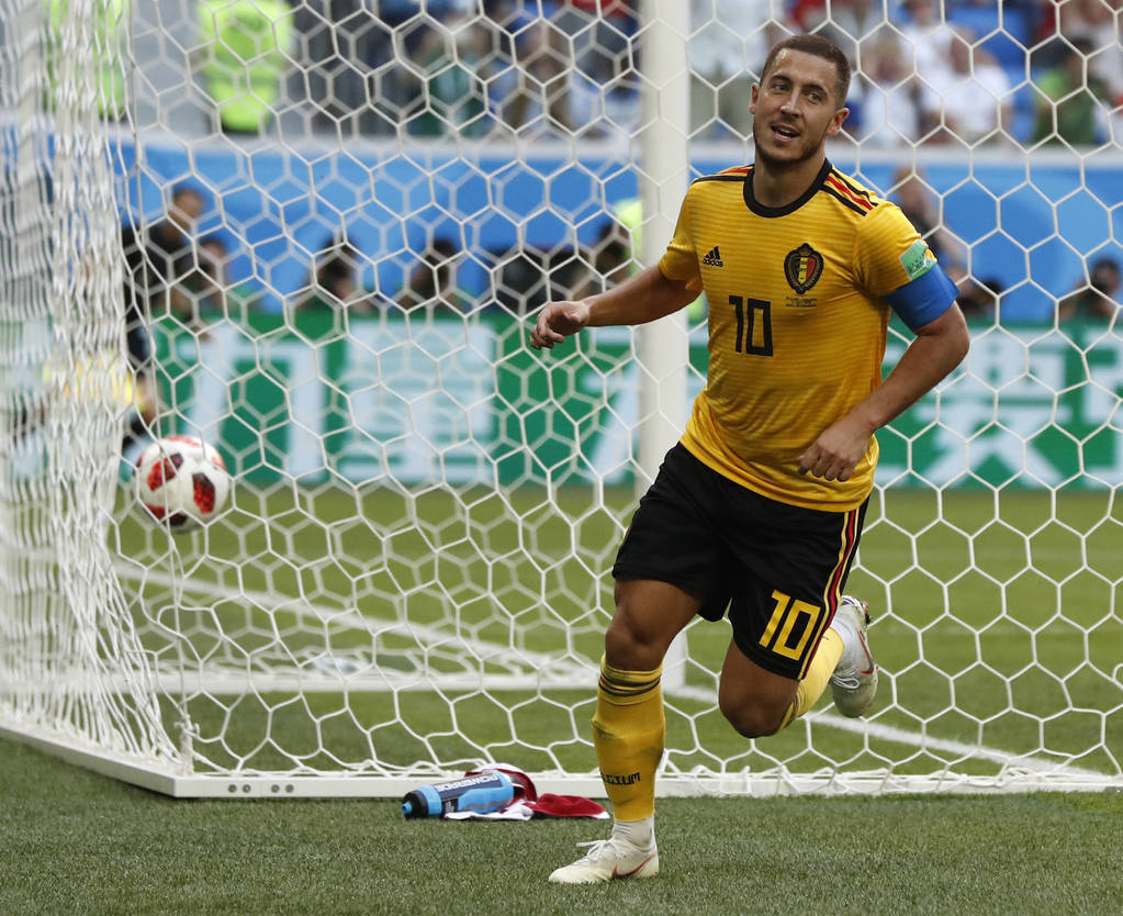 Belgium's Eden Hazard runs in celebration after scoring his side's second goal during the third place match between England and Belgium at the 2018 soccer World Cup in the St. Petersburg Stadium i ...