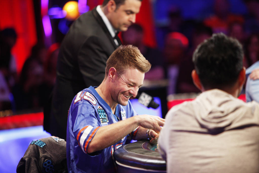 Tony Miles laughs while playing on day three of the main event final table at the World Series of Poker tournament at the Rio Convention Center in Las Vegas, Saturday, July 14, 2018. Rachel Aston ...