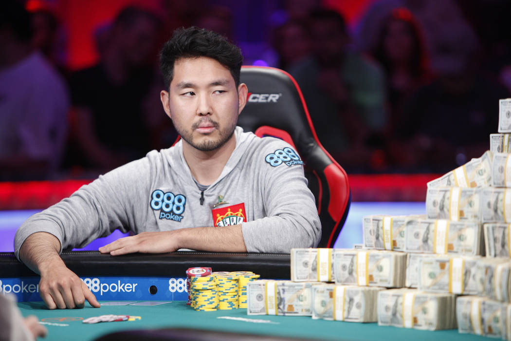 John Cynn on day three of the main event final table at the World Series of Poker tournament at the Rio Convention Center in Las Vegas, Saturday, July 14, 2018. He faces John Cynn for first place. ...