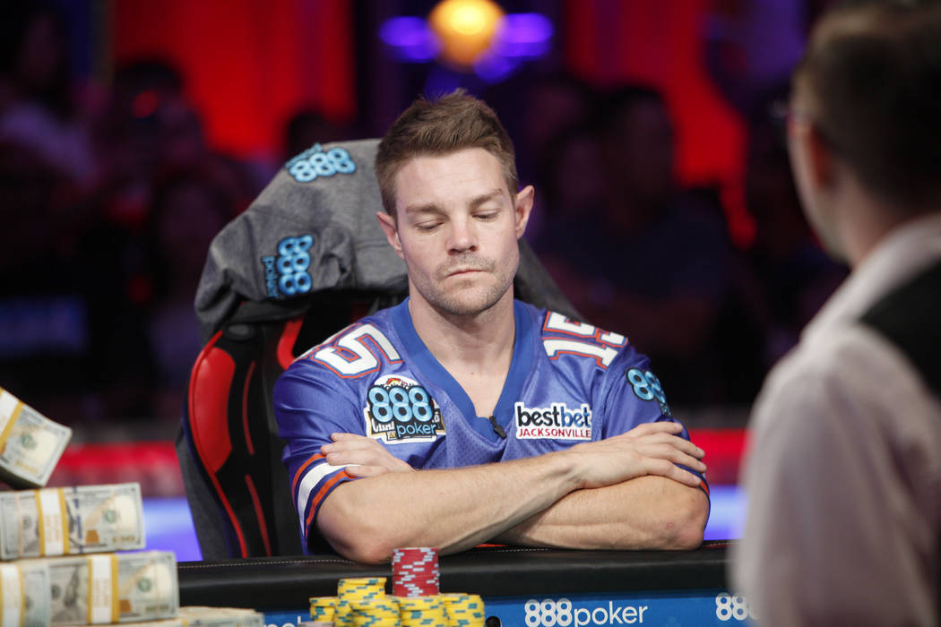 Tony Miles on day three of the main event final table at the World Series of Poker tournament at the Rio Convention Center in Las Vegas, Saturday, July 14, 2018. He faces John Cynn for first place ...