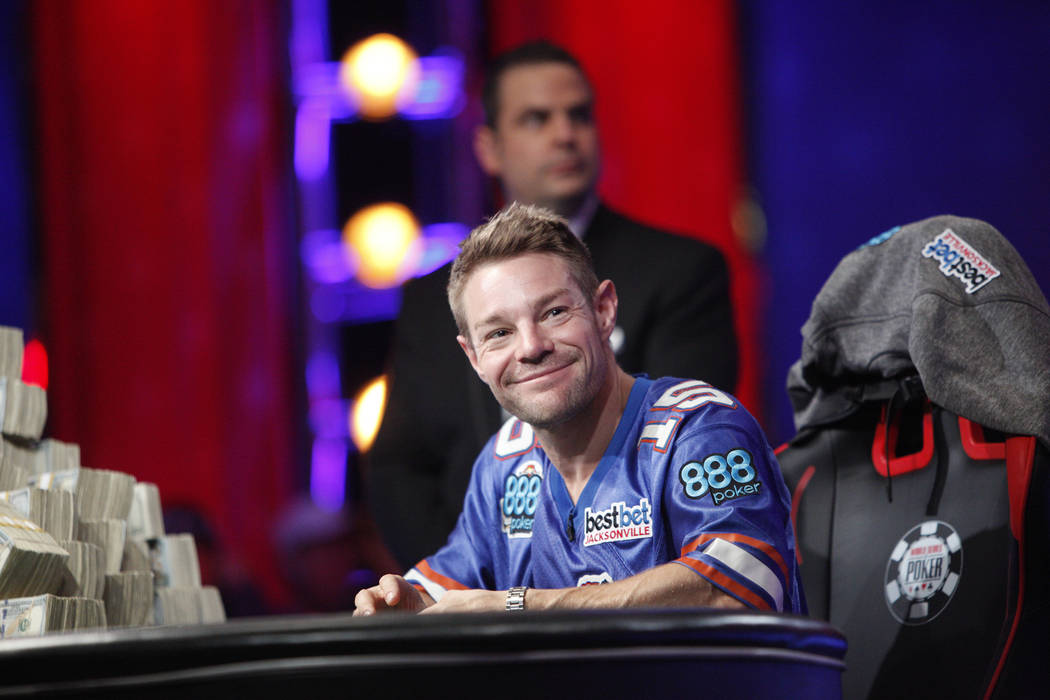 Tony Miles smiles on day three of the main event final table at the World Series of Poker tournament at the Rio Convention Center in Las Vegas, Saturday, July 14, 2018. He faces John Cynn for firs ...