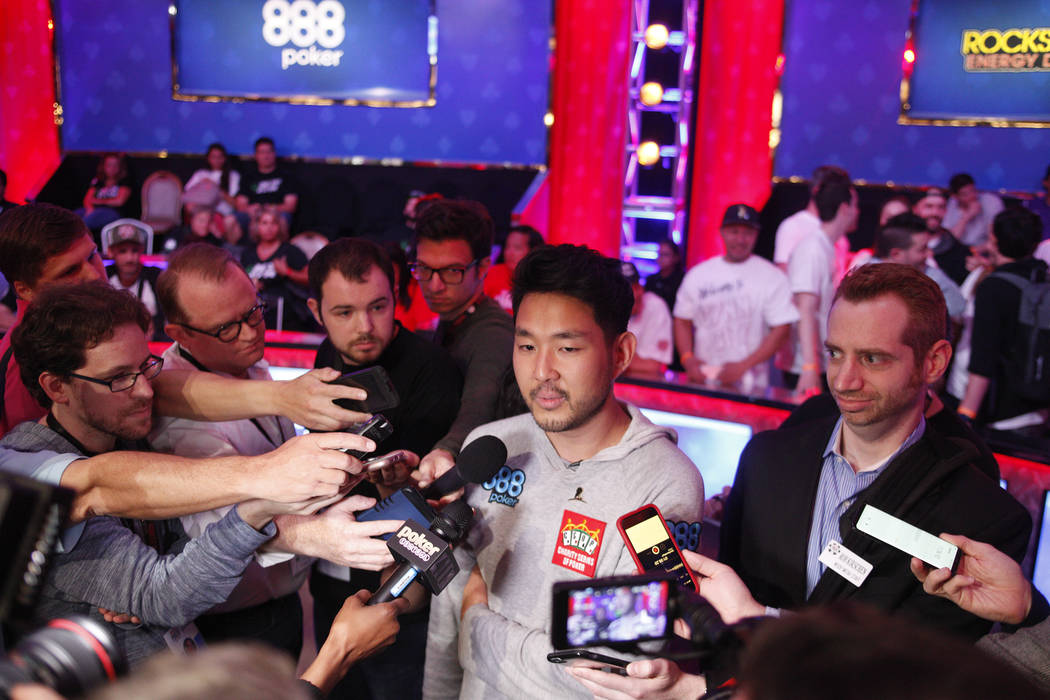 John Cynn surrounded by media after winning the World Series of Poker tournament in Las Vegas, Sunday, July 15, 2018. Rachel Aston Las Vegas Review-Journal @rookie__rae