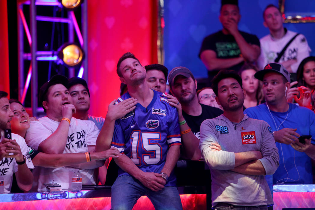 Tony Miles and John Cynn wait to see the hand dealt at the World Series of Poker tournament in Las Vegas, Sunday, July 15, 2018. Rachel Aston Las Vegas Review-Journal @rookie__rae