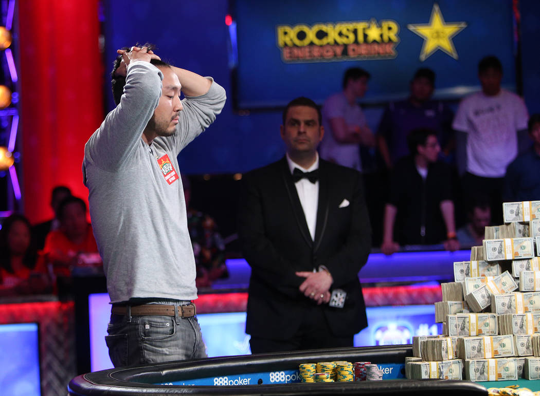 John Cynn in the final hour of the World Series of Poker tournament in Las Vegas, Sunday, July 15, 2018. He would go on to defeat Tony Miles. Rachel Aston Las Vegas Review-Journal @rookie__rae