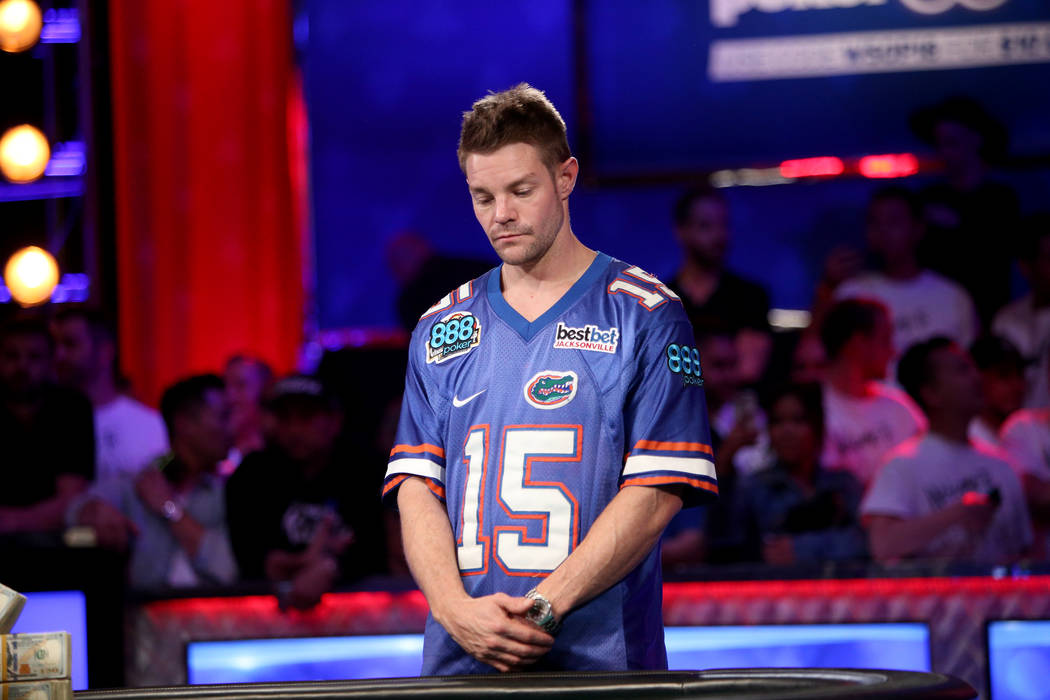 Tony Miles looks down after placing second to John Cynn in the World Series of Poker tournament in Las Vegas, Sunday, July 15, 2018. Rachel Aston Las Vegas Review-Journal @rookie__rae
