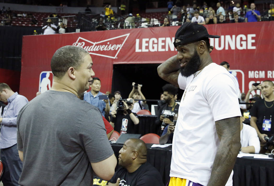 fa5d1cb8e4bc0 The Los Angeles Lakers  LeBron James chats with Cleveland Cavaliers coach  Tyronn Lue at the