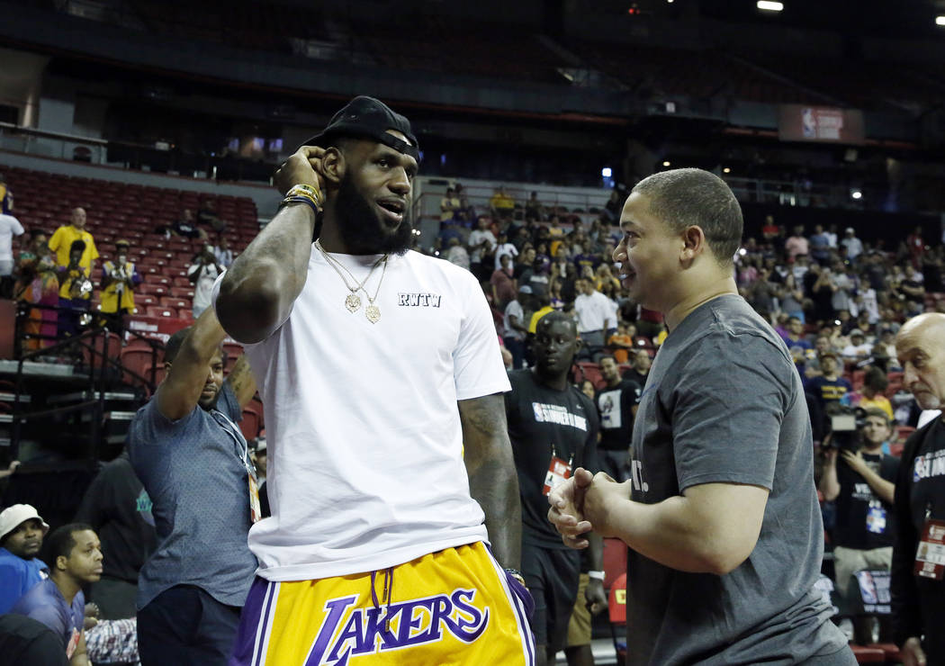 san francisco 6d3f3 c837b The Los Angeles Lakers  LeBron James chats with Cleveland Cavaliers coach  Tyronn Lue at the