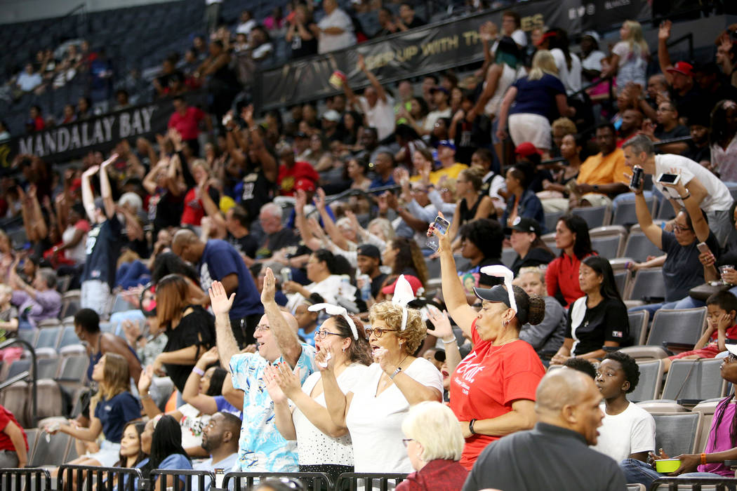 The crowd rallies up after the 2nd quarter of the WNBA basketball game of the Las Vegas Aces against the Los Angeles Sparks at the Mandalay Bay Events Center in Las Vegas, Sunday, July 15, 2018. T ...