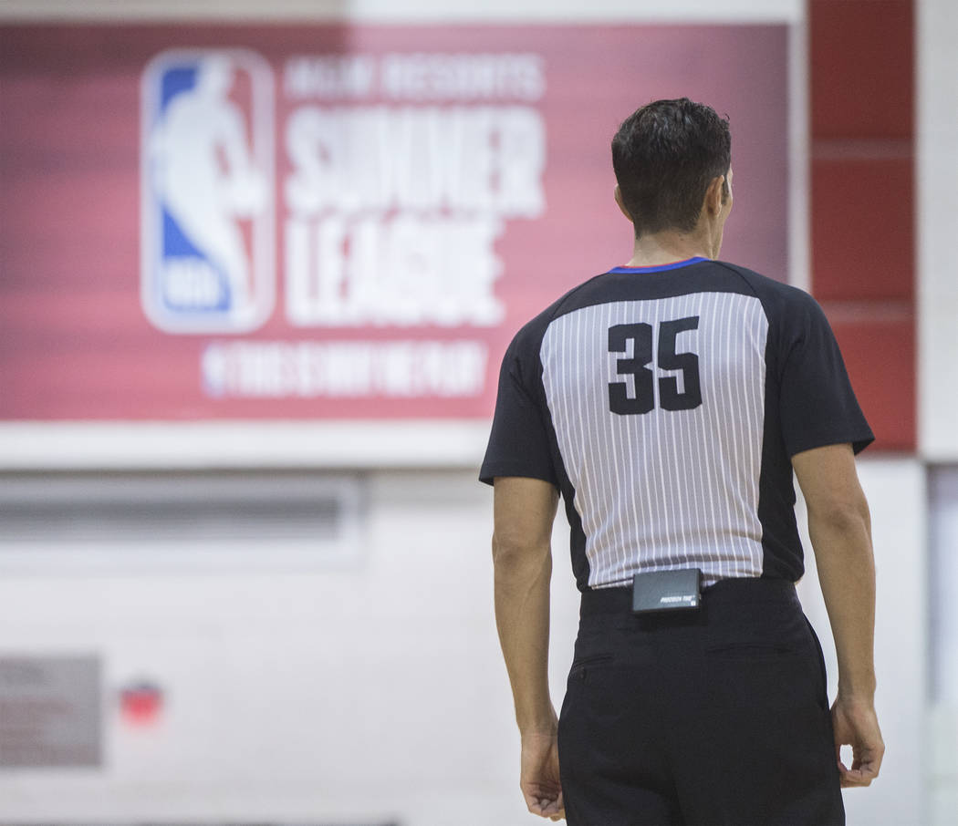 Referee Jason Goldenberg (35) works the Miami Heat's NBA Summer League game with the New Orleans Pelicans on Thursday, July 12, 2018, at Cox Pavilion, in Las Vegas. Benjamin Hager Las Vegas Review ...