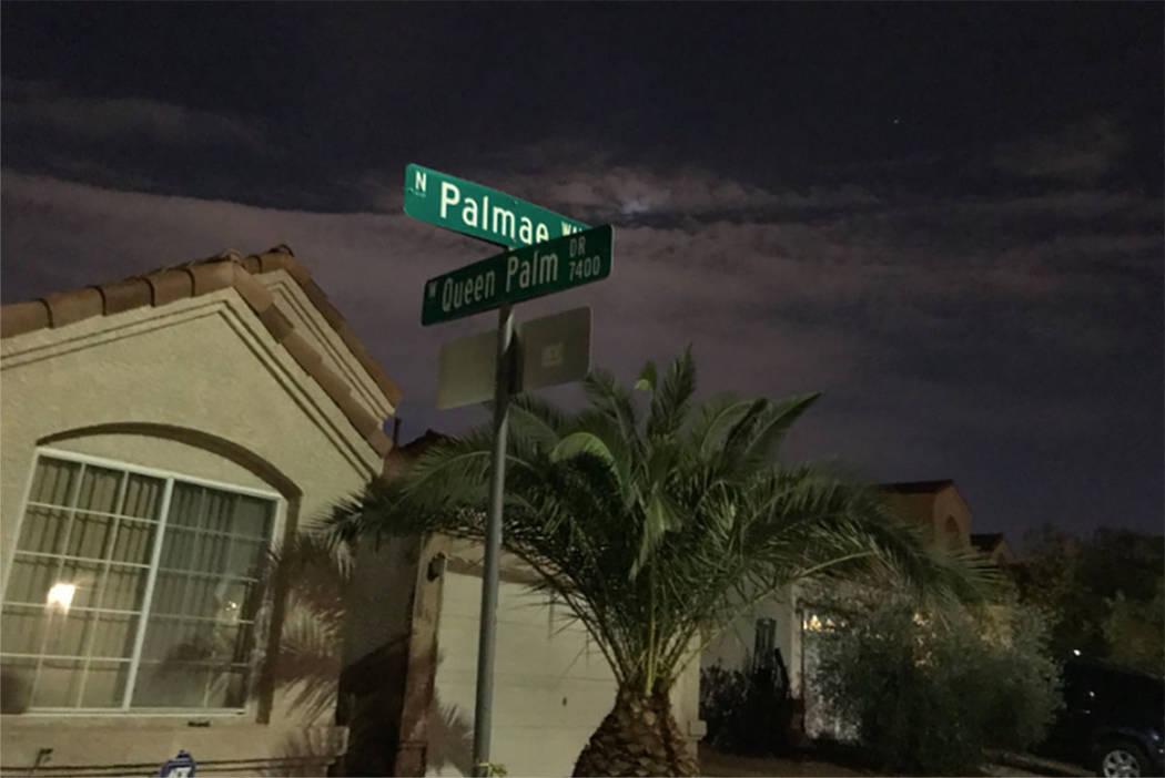 The 1600 block of Palmae Way in Las Vegas on Sunday night. (Blake Apgar/Las Vegas Review-Journal)