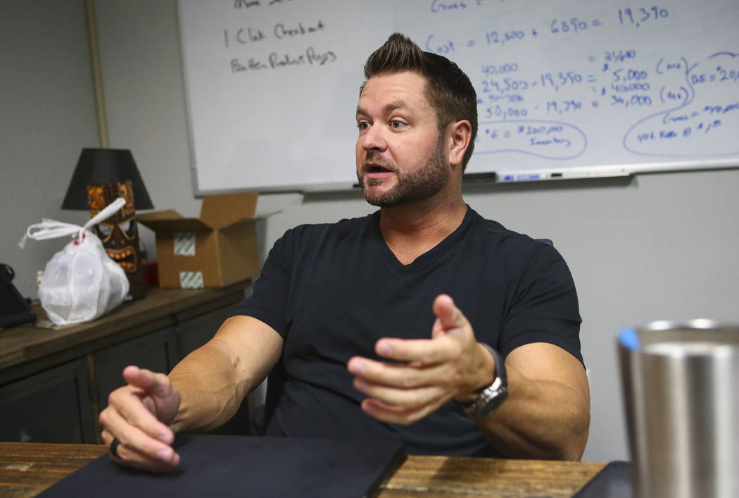 Billy Wilson, CEO of eCig Distributors, talks about his company in Las Vegas on Friday, July 13, 2018. Chase Stevens Las Vegas Review-Journal @csstevensphoto