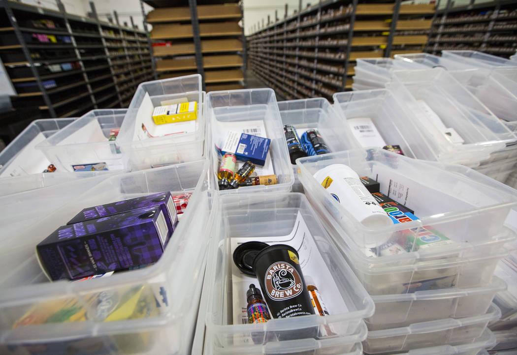 Orders wait to be packaged at the eCig Distributors warehouse near McCarran International Airport in Las Vegas on Friday, July 13, 2018. Chase Stevens Las Vegas Review-Journal @csstevensphoto