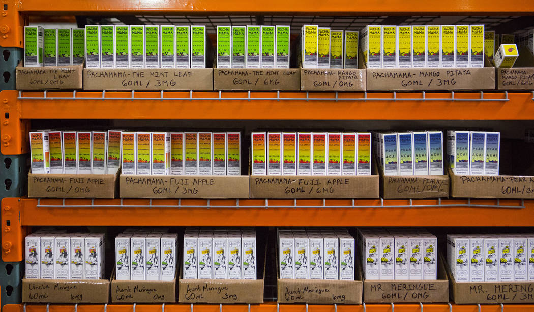 A variety of items at the eCig Distributors warehouse near McCarran International Airport in Las Vegas on Friday, July 13, 2018. Chase Stevens Las Vegas Review-Journal @csstevensphoto