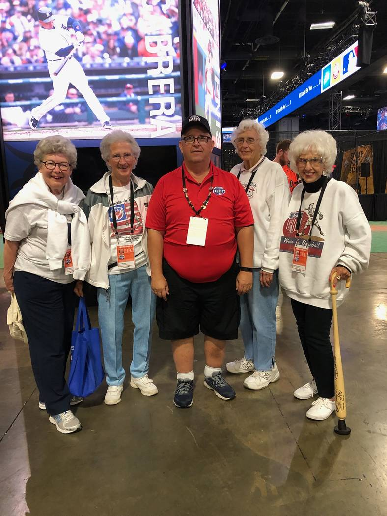 Henderson resident and former Green Valley Little League president Dan Kazmierski is shown with former All-American Girls Professional Baseball League players (l to r) Lois Youngen, Mary Moore, Sh ...