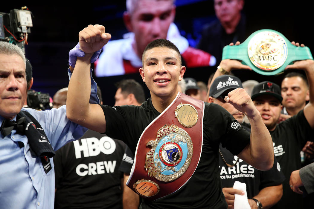 Jaime Munguia celebrates his win by unanimous decision against Liam Smith in the WBO Super Welterweight Title bout at Hard Rock Hotel in Las Vegas, Saturday, July 21, 2018. Erik Verduzco Las Vegas ...
