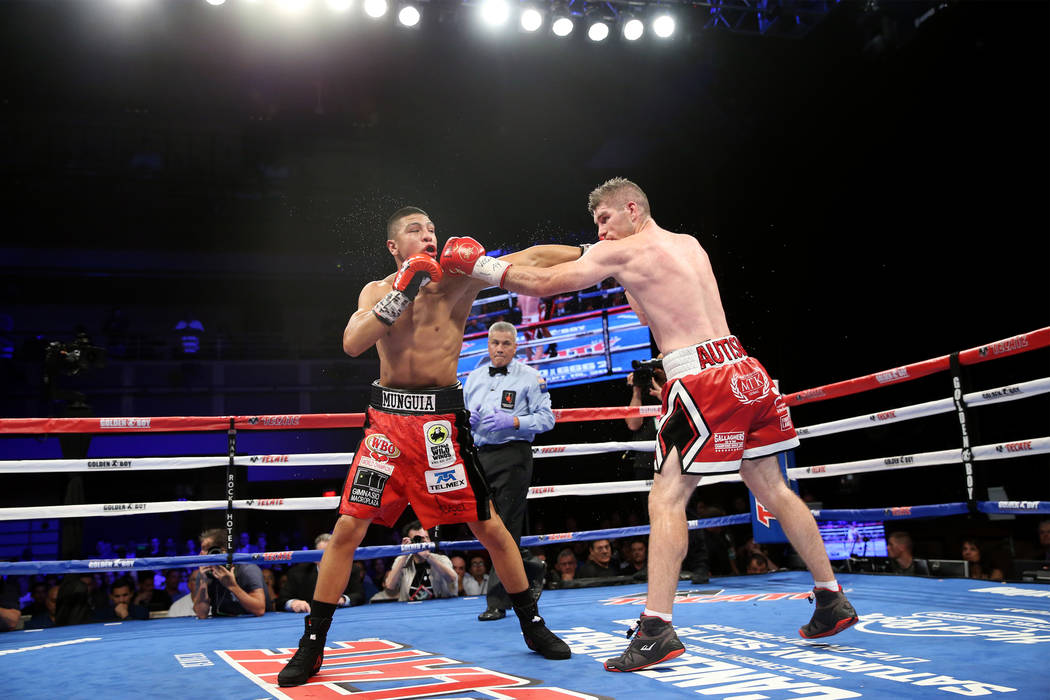 Jaime Munguia, left, and Liam Smith battle in the WBO Super Welterweight Title bout at Hard Rock Hotel in Las Vegas, Saturday, July 21, 2018. Munguia won by unanimous decision. Erik Verduzco Las V ...