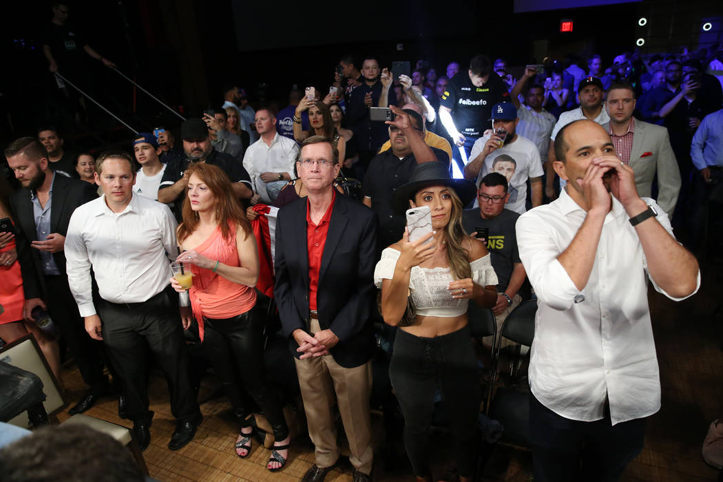 People get ready to watch Liam Smith and Jaime Munguia battles in the WBO Super Welterweight Title bout at Hard Rock Hotel in Las Vegas, Saturday, July 21, 2018. Munguia won by unanimous decision. ...