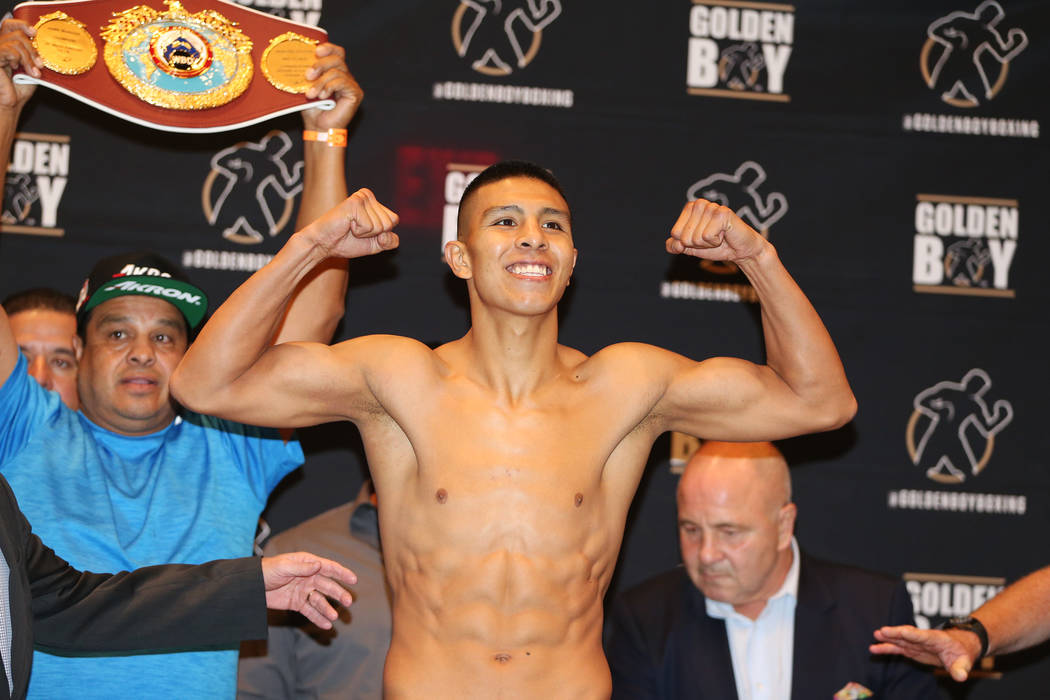 Jaime Munguia during his official weigh-in at the Hard Rock Hotel in Las Vegas, Friday, July 20, 2018. Munguia is fighting Liam Smith in the WBO Junior Middleweight World Championship bout on Satu ...