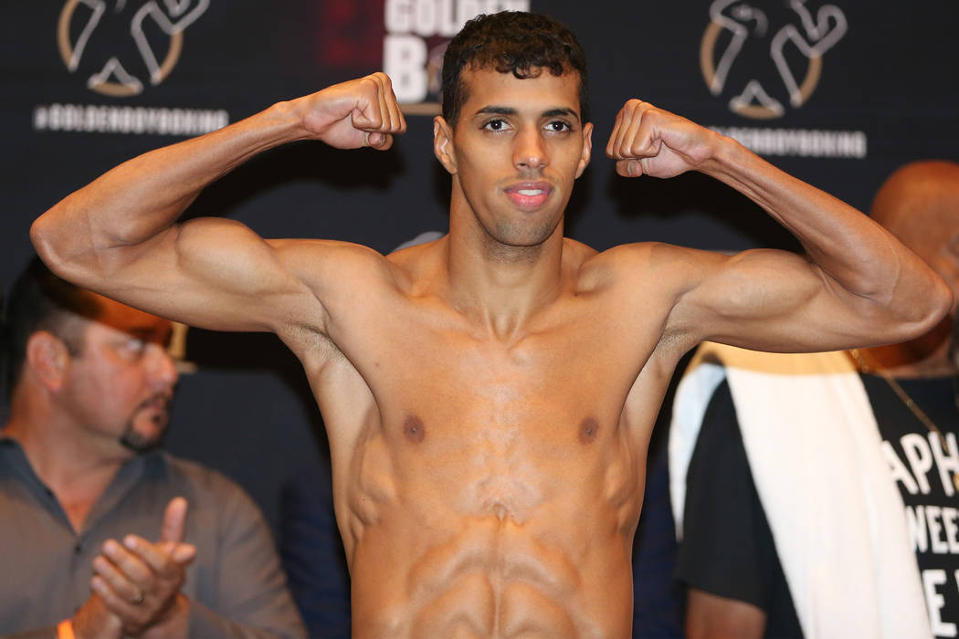 Alberto Machado during his official weigh-in at the Hard Rock Hotel in Las Vegas, Friday, July 20, 2018. Machado is fighting Rafael Mensah in the WBA Super Featherweight World Championship bout on ...