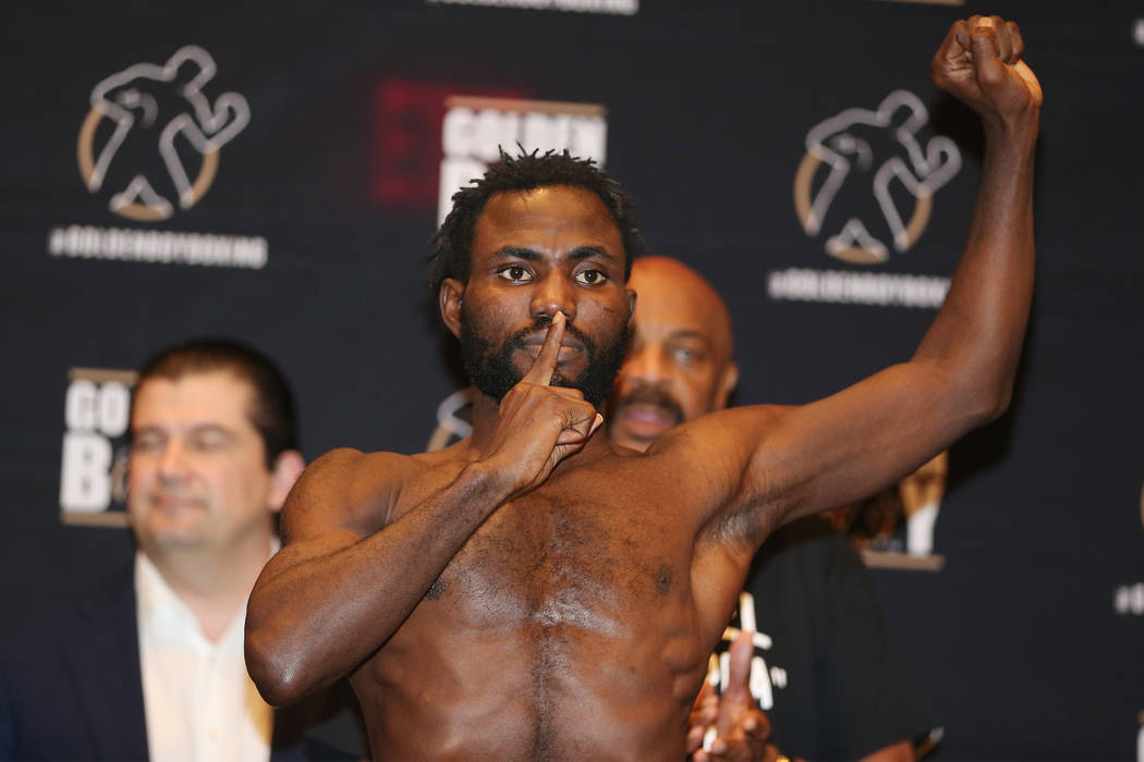 Rafael Mensah during his official weigh-in at the Hard Rock Hotel in Las Vegas, Friday, July 20, 2018. Mensah is fighting Alberto Machado in the WBA Super Featherweight World Championship bout on ...