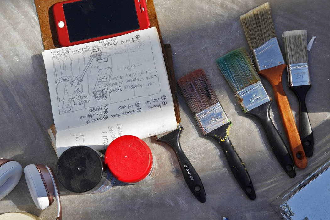 Manny Oliver's sketch for his mural at a Road to Change Voter Registration Walk at Sunset Park in Las Vegas, Monday, July 16, 2018. The event was put on by the March For Our Lives group, created a ...