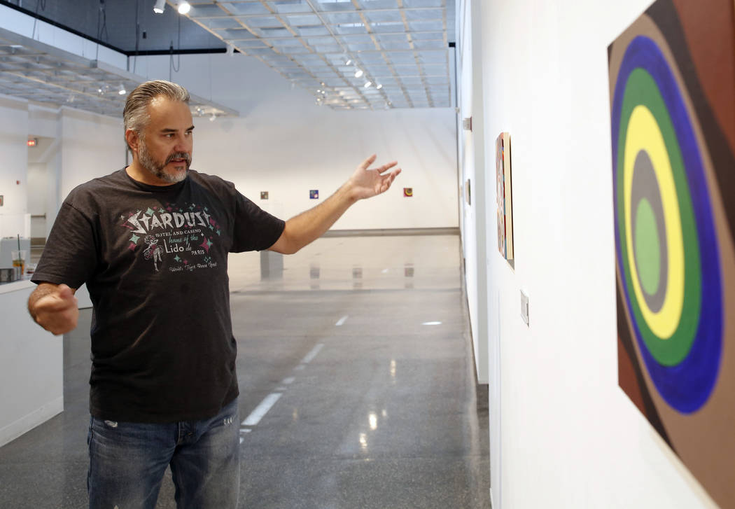 "The Las Vegas artist, Jerry Misko, talks about his show, ""Polyhedral"" at The Studio at Sahara West Library, on Monday, July 16, 2018, in Las Vegas. Bizuayehu Tesfaye/Las Vegas Review-Jou ..."