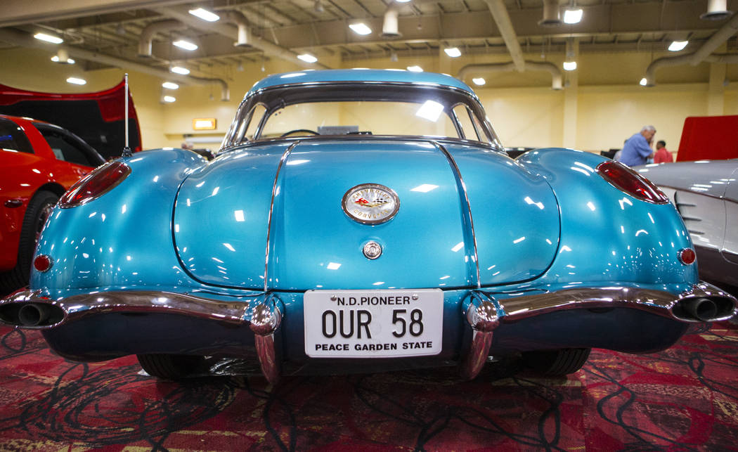 The rear of a 1958 Corvette owned by Don Jiran on display during the National Corvette Restorers Society convention at the South Point in Las Vegas on Tuesday, July 17, 2018. Chase Stevens Las Veg ...