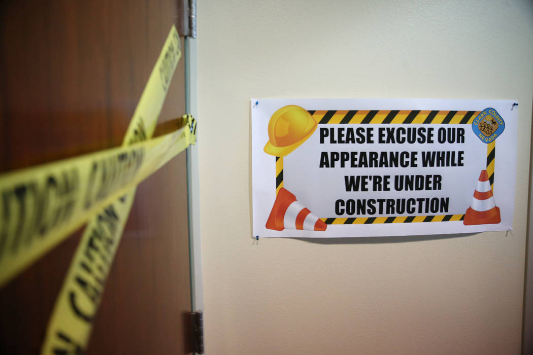 Construction signs at Cora Coleman Senior Center in Las Vegas, Tuesday, July 17, 2018. Renovations that include additional space are over 20 percent complete at the senior center according to the ...