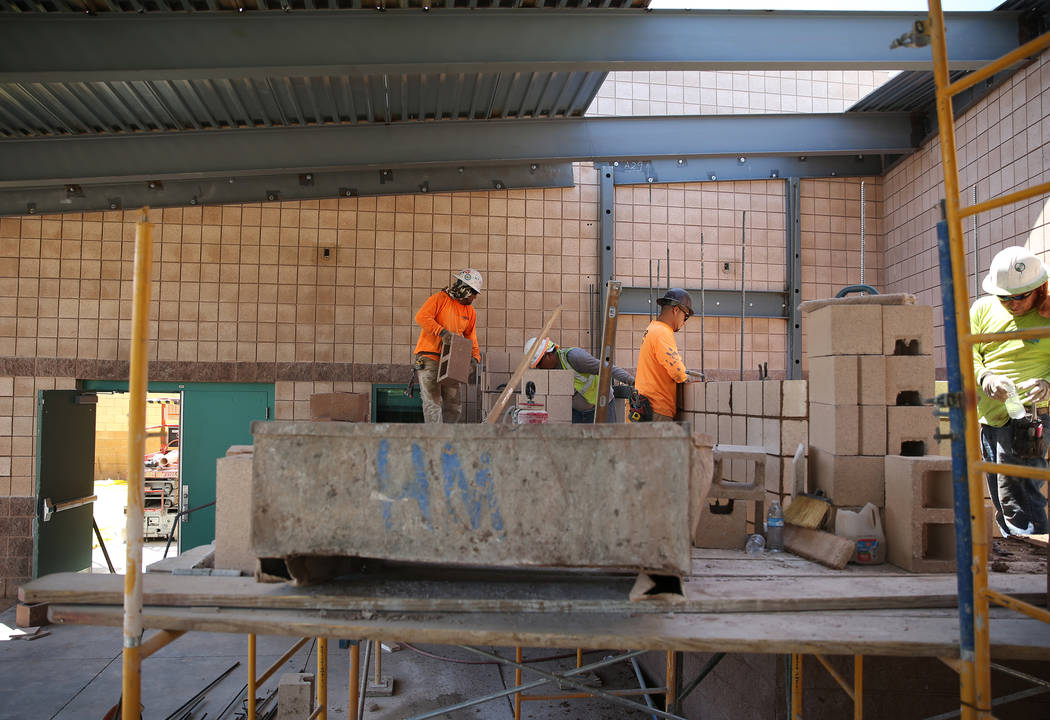 Construction work at Cora Coleman Senior Center in Las Vegas, Tuesday, July 17, 2018. Renovations that include additional space are over 20 percent complete at the senior center according to the p ...