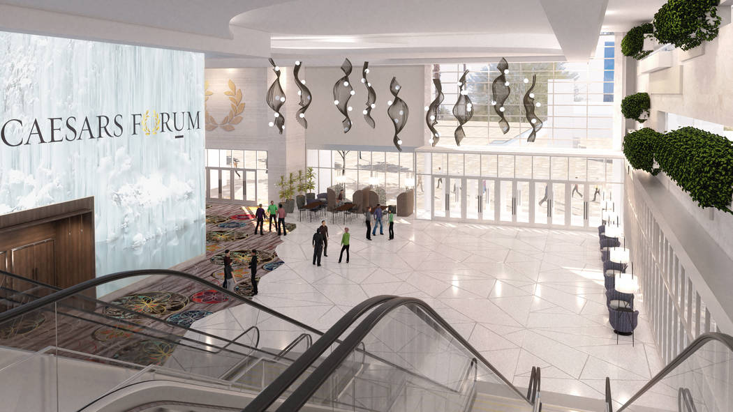 Rendering of foyer of Caesars Forum meeting center (Caesars Entertainment)
