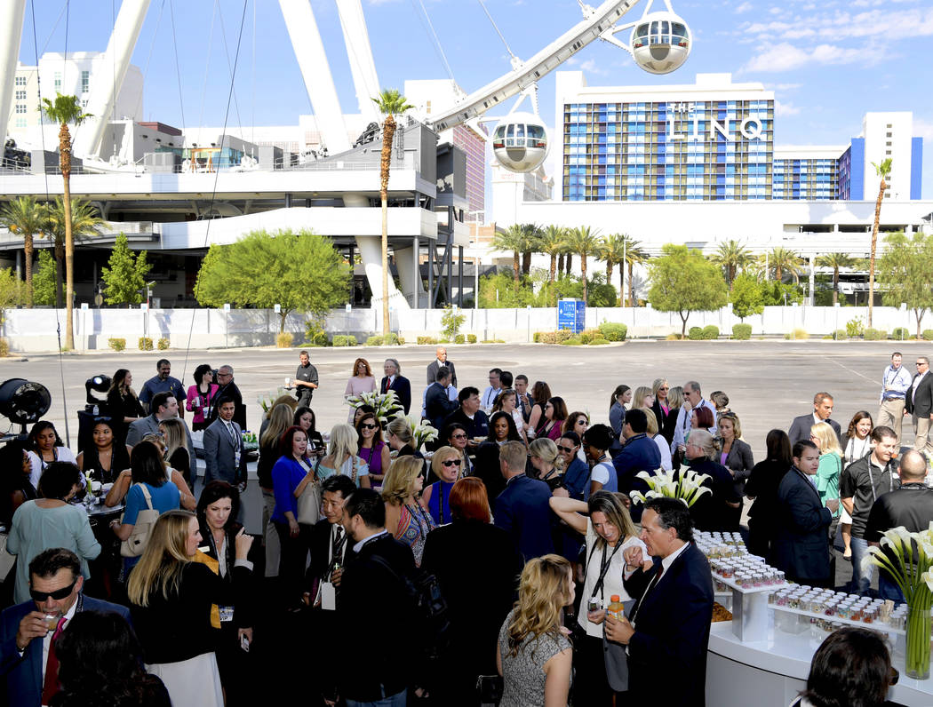 Guests await the groundbreaking of CAESARS FORUM a $375 million, 550,000 square-foot conference center adjacent to the High Roller Observation Wheel at the Linq, debuting in 2020. Monday, July 16, ...