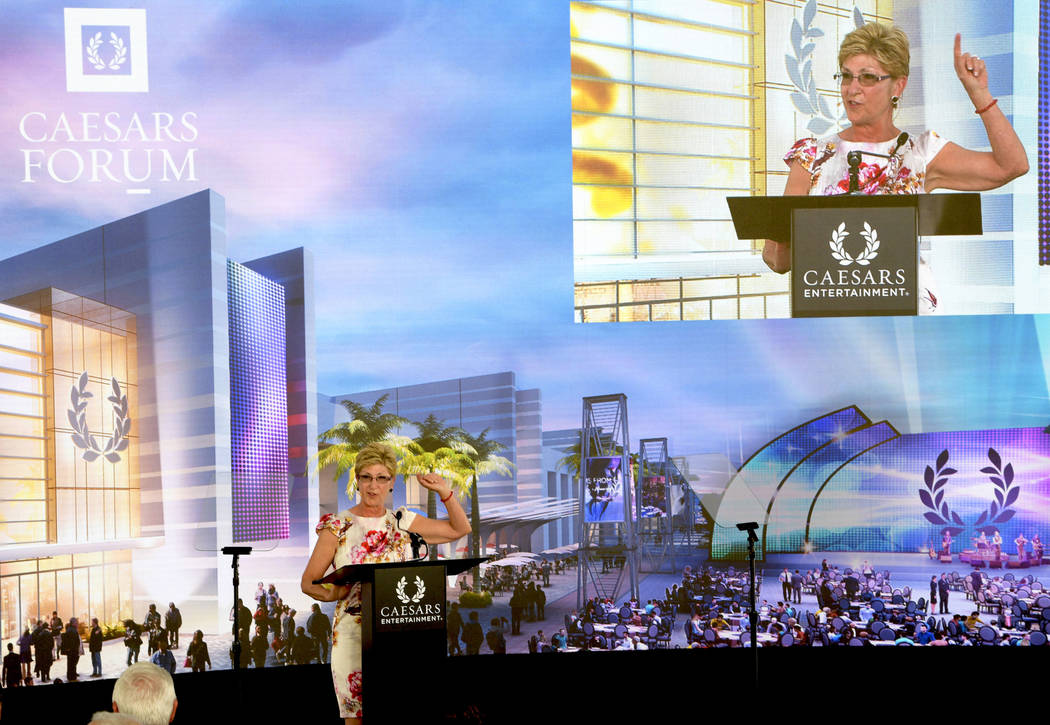 Clark County Commissioner Chris Giunchigliani speaking at the groundbreaking of CAESARS FORUM a $375 million, 550,000 square-foot conference center debuting in 2020. Monday, July 16, 2018. CREDIT: ...